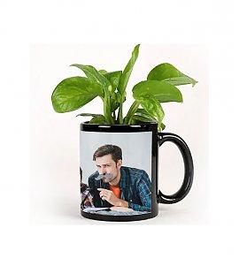 Money Plant In Black Personalized Mug