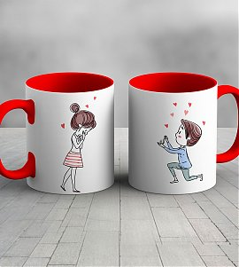 Proposed love red color handle mug