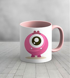 Pink Ceramic Cute monster kids mug