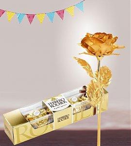 Ferrero Rocher with  Golden Rose