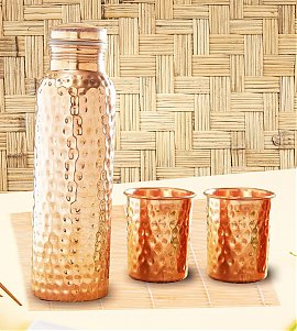 Designer Hammered Copper Bottle with Set of Two Glasses