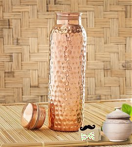 Designer Hammered Copper Bottle