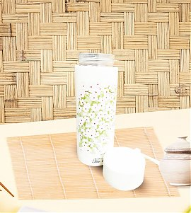 White Floral print glass water bottle