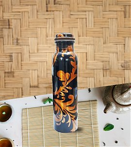 Blue and gold printed copper bottle with 100 Ml 100 % copper