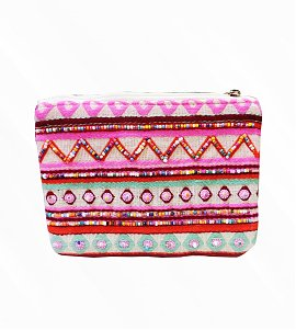 Pink Multicolored Embroidered and Printed Cotton Pouch