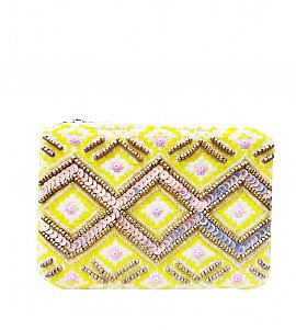 Yellow and White -Multicolored beads and Sequins Hand-Embroidered Cotton  Pouch