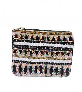 Black-Multicolored Hand-Embroidered Cotton Jacquard Pouch
