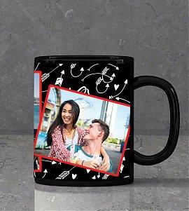 Romantic Collage Personalised Black Mug