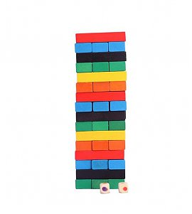 Wooden Jenga Tower Stacking Game - Multi Color
