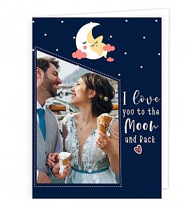 love you moon to the back Greeting Card
