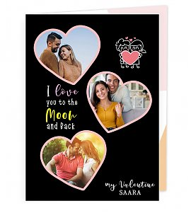 Personalised love you moon to the back Greeting Card