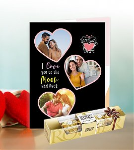 love you moon to the back Greeting Card with Ferrero Rocher