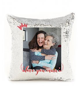 Love you maa Personalized Sequin Cushion