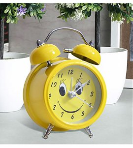 Cute Yellow Smiley Analog Alarm Clock