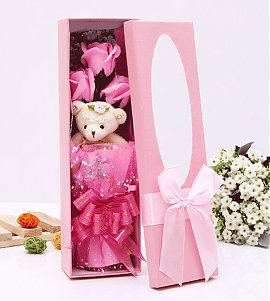 Pink Flower Bouquet Scented Soap Roses Cute Teddy Bear  with Led Lighting