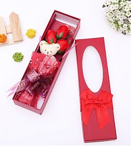 Red Flower Bouquet Scented Soap Roses Cute Teddy Bear  with Led Lighting