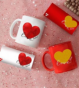 Personalised Red & White Mugs with Chocolates