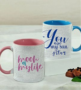 Set of 2 Personalised Mugs for a Cute Couple