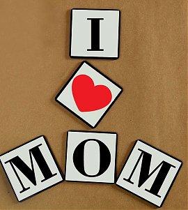 Love U Mom Set Of 5 Coasters