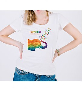 Colourful Elephant Holi Printed T-shirt