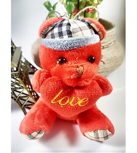 Cute red color teddy keychain