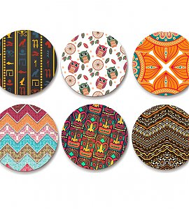 Ethnic design Coaster- set of 6