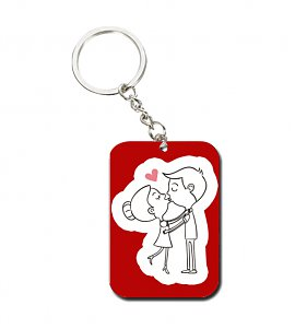 Kiss me love key chain