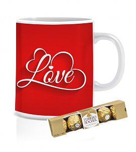 Love mug with Ferrero Rocher Chocolates