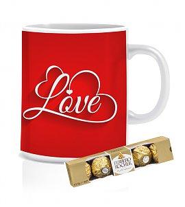 Love mug with Ferrero Rocher Chocolates