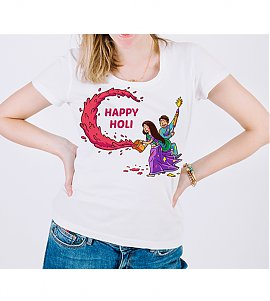 MultiColour Happy Holi Printed T-shirt