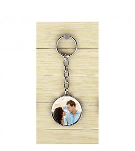 You and I round metal keychain