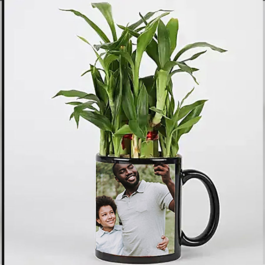 2 Layer Bamboo in Personalized Black Mug
