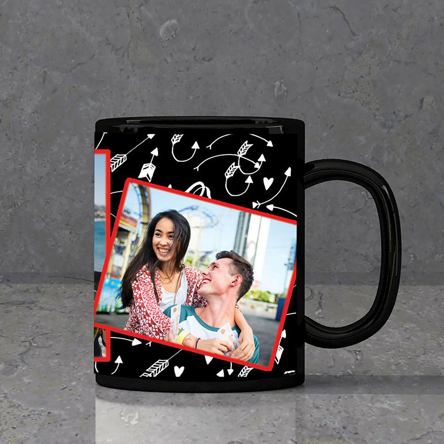Romantic Collage Personalised Black Mug