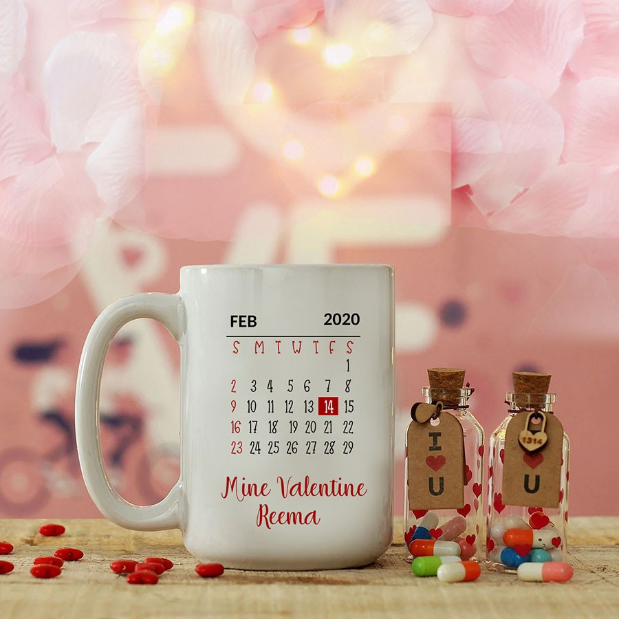 Personalised Coffee Mug with Love Bottle