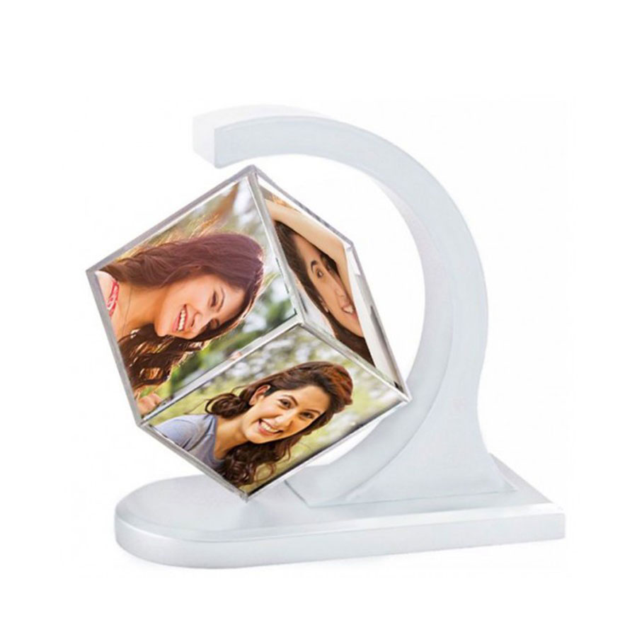 Personalised Revolving Floating Photo Cube Magnetic