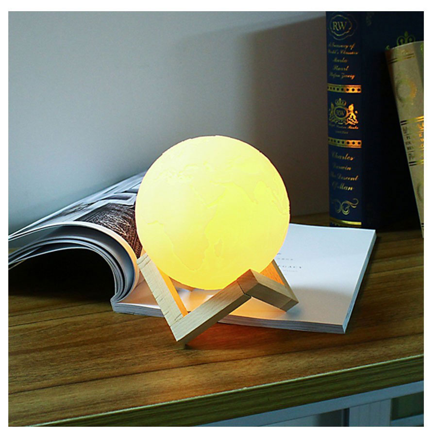 Stylish Moon Light 3D Crystal Ball with touch function Night Light for Room Night Lamps Decoration Piece (with Stand)