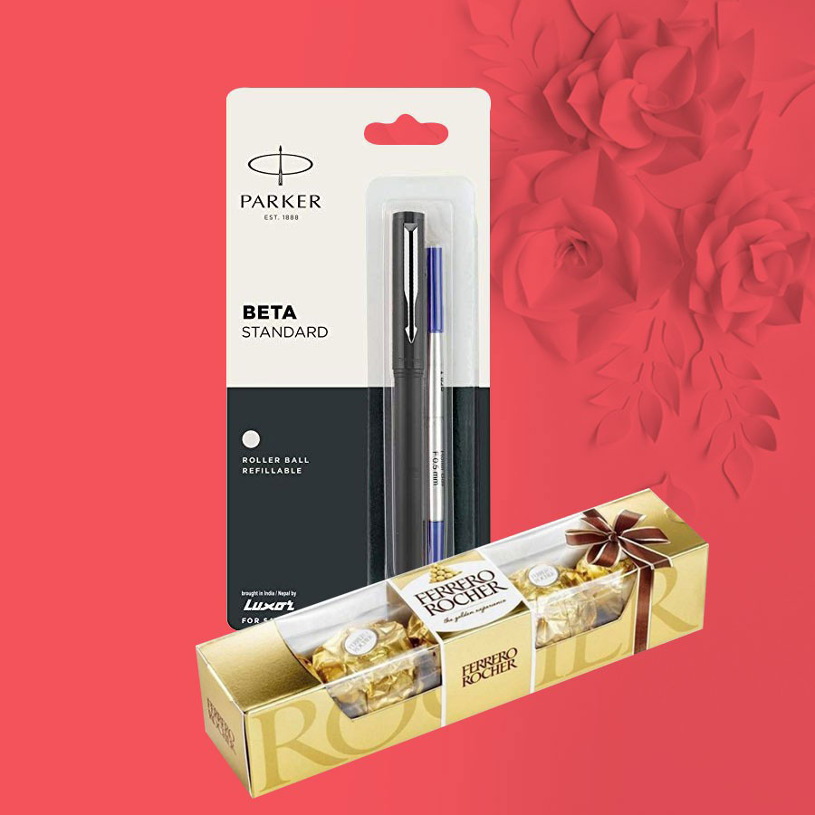 Parker Beta Standard Roller Ball Pen With Ferrero Rocher Chocolate