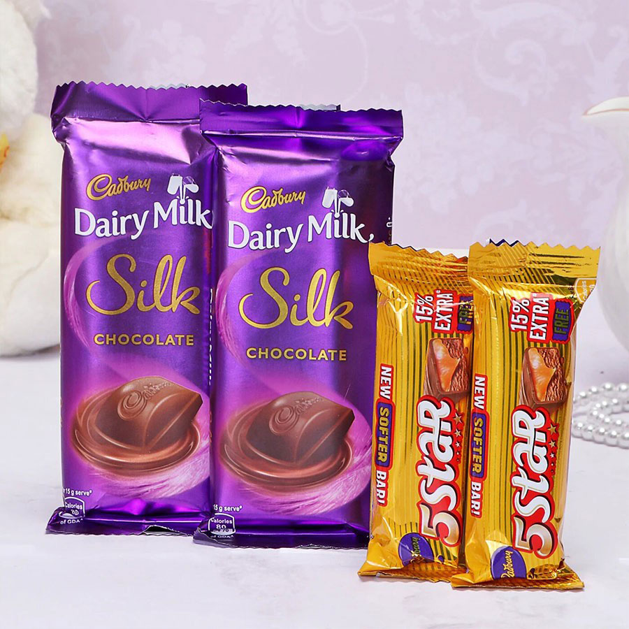 Cadbury Dairy Milk Silk and 5 Star with Free Gift Pack