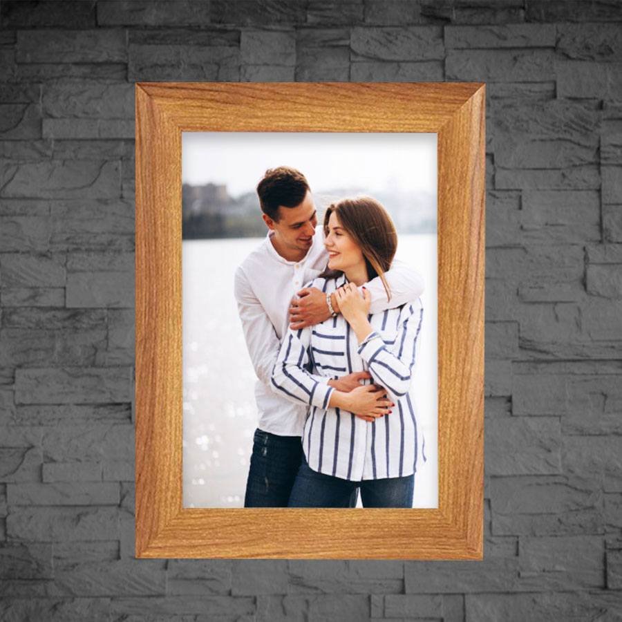 Brown Color Photo Frame Self Print Picture size  5x7 with Table Top