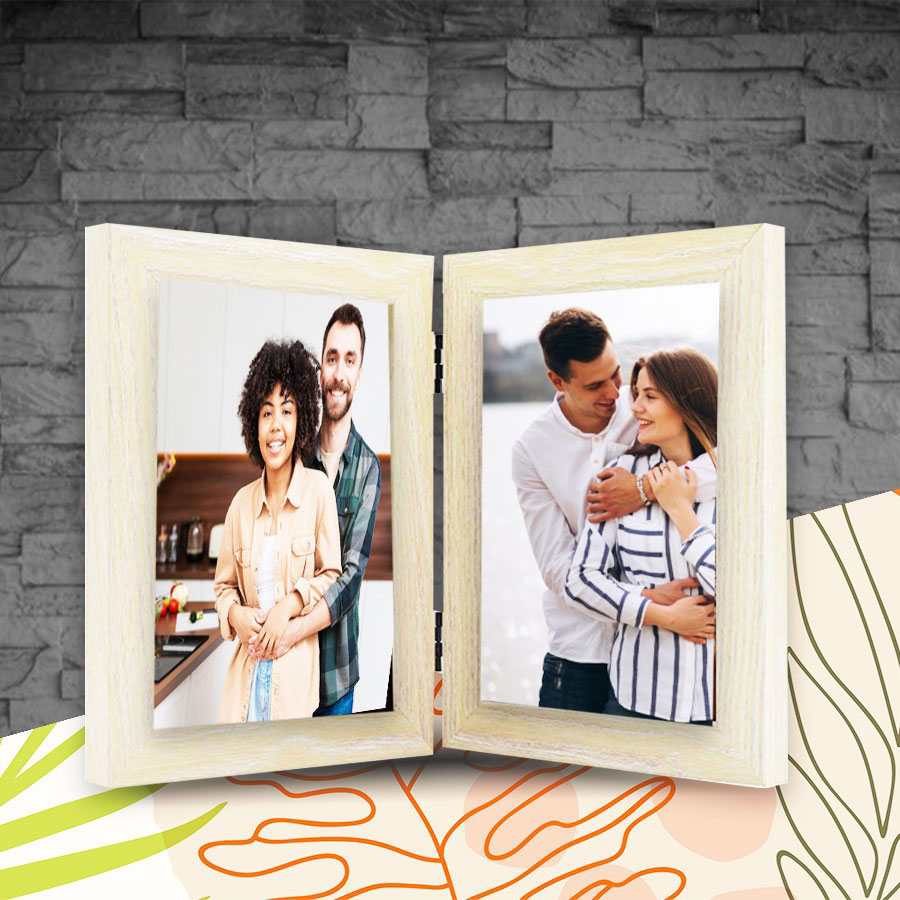 Double Photo Frame Self Print Picture 5x7  Cream Color