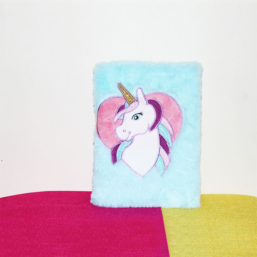 Blue Color Unicorn Plush Personal Notebook Diary