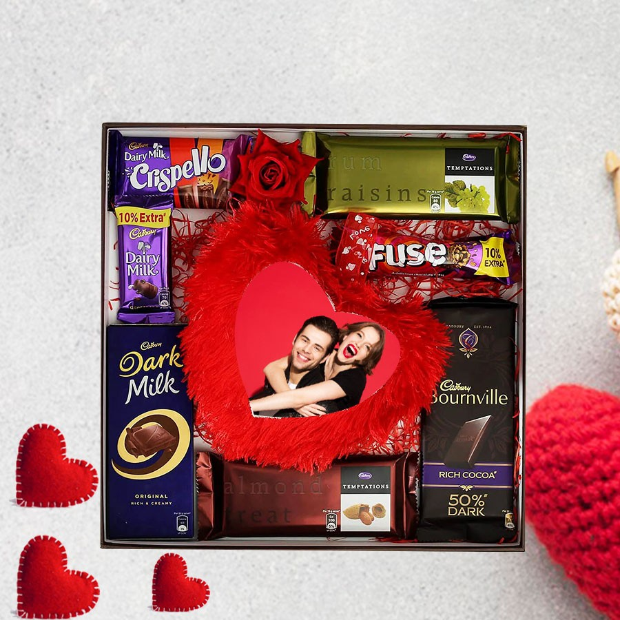 Assorted Chocolates & 15x15  Personalized Heart-shaped Cushion in a Wooden Tray (Free Shipping)