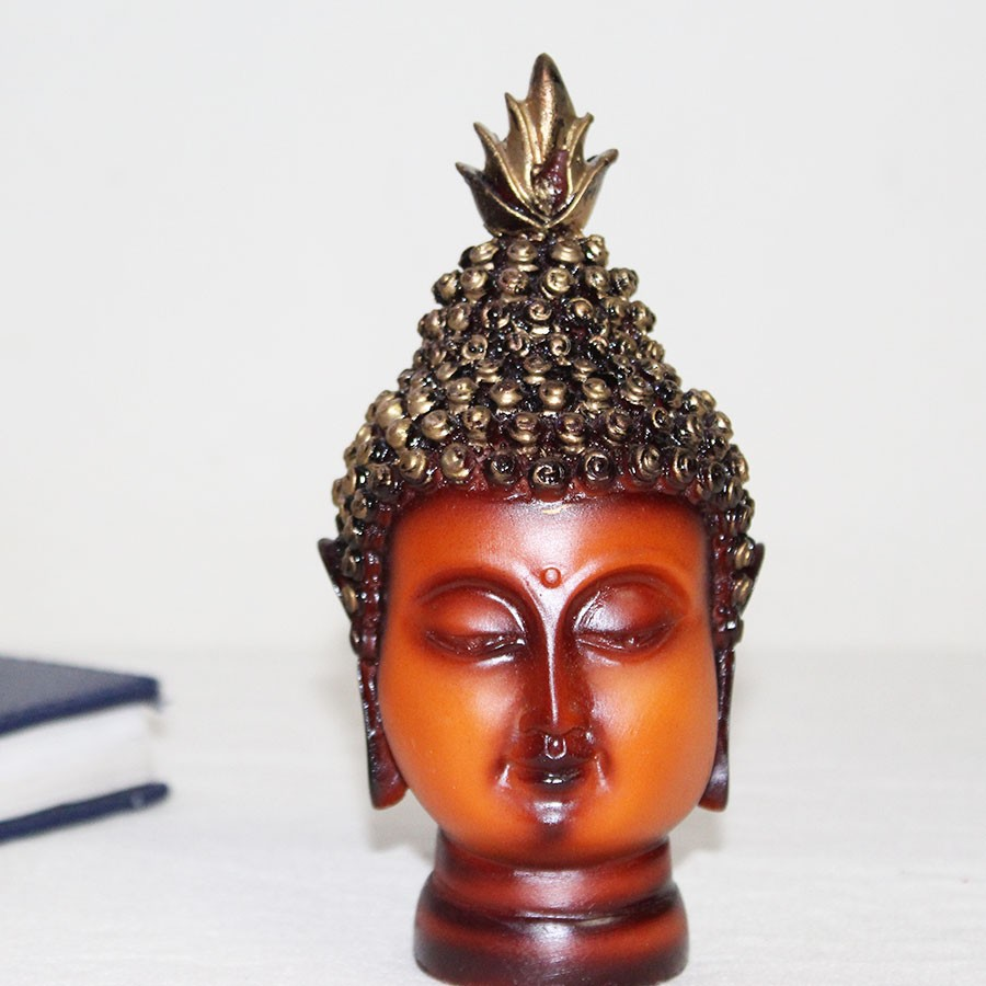 Orange & Gold-Toned Buddha Head Showpiece