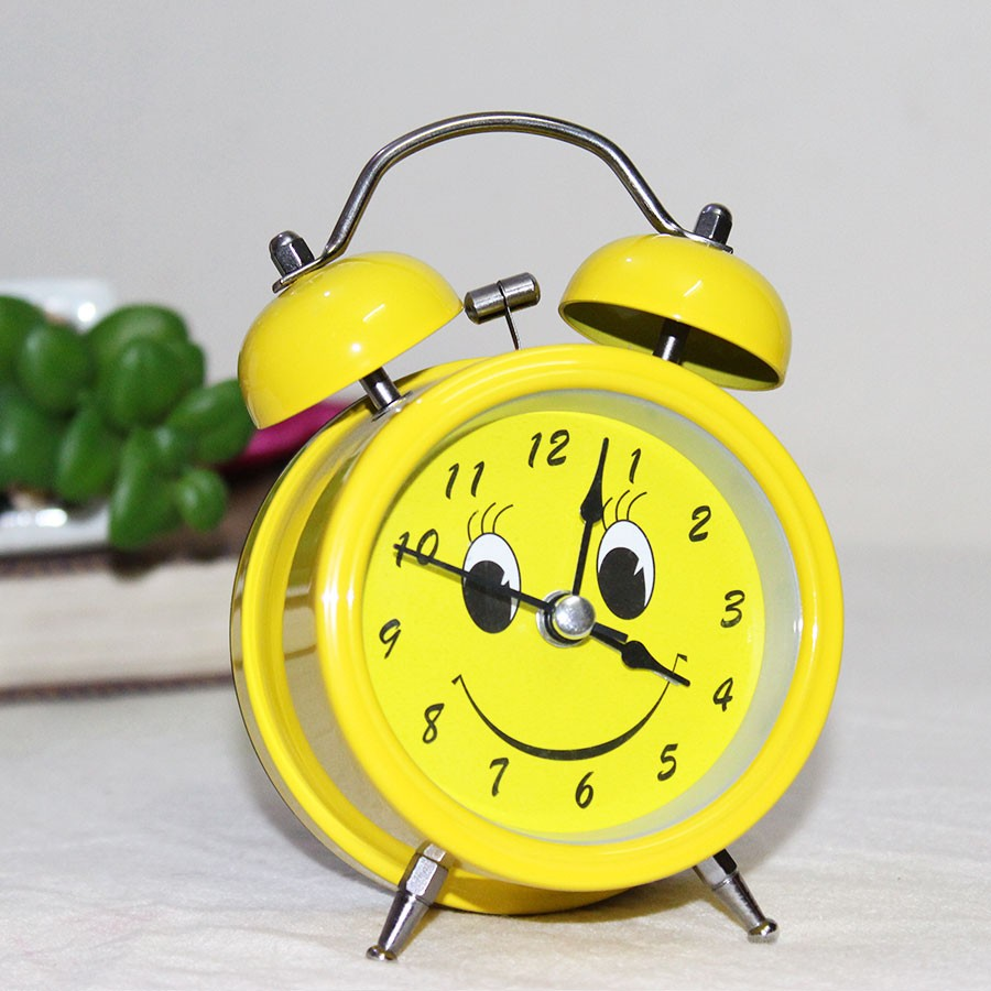Cute Yellow Smiley Alarm Clock with Gift Pack