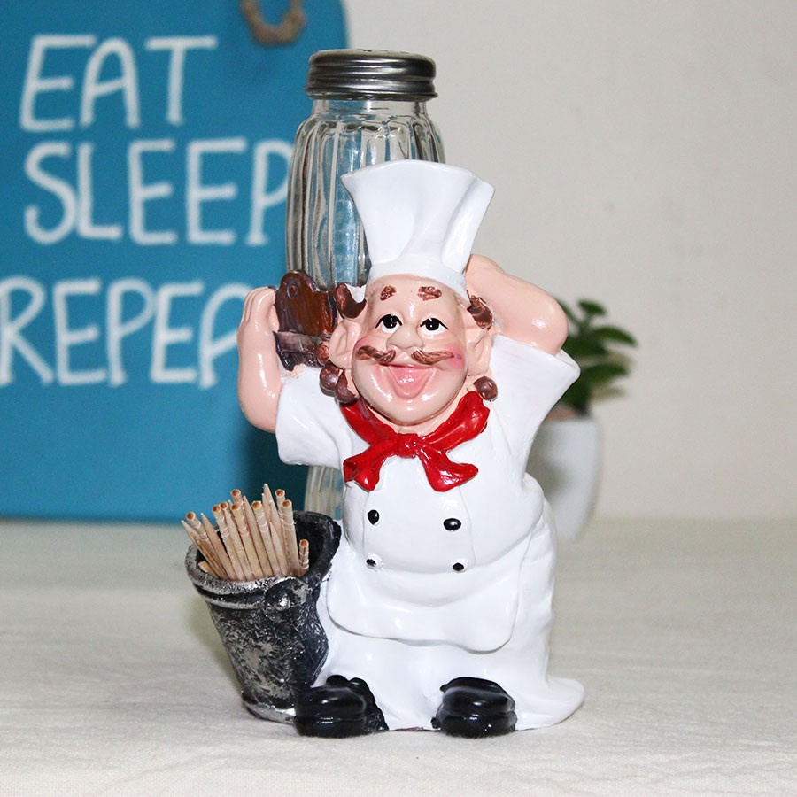 Fat Chef Salt Pepper Shakers with Toothpick Holder