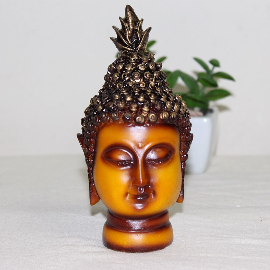 Yellow & Gold-Toned Buddha Head Showpiece