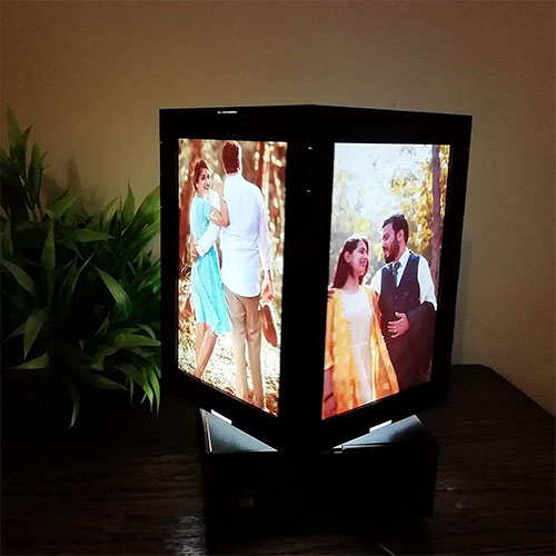 Personalized rotating Lamp with 4 photo