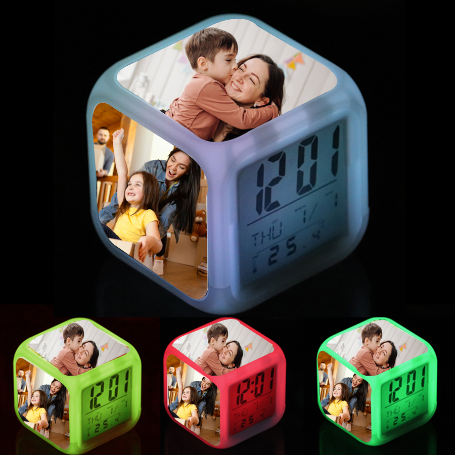 Personalized cube LED Glow color changing digital alarm clock