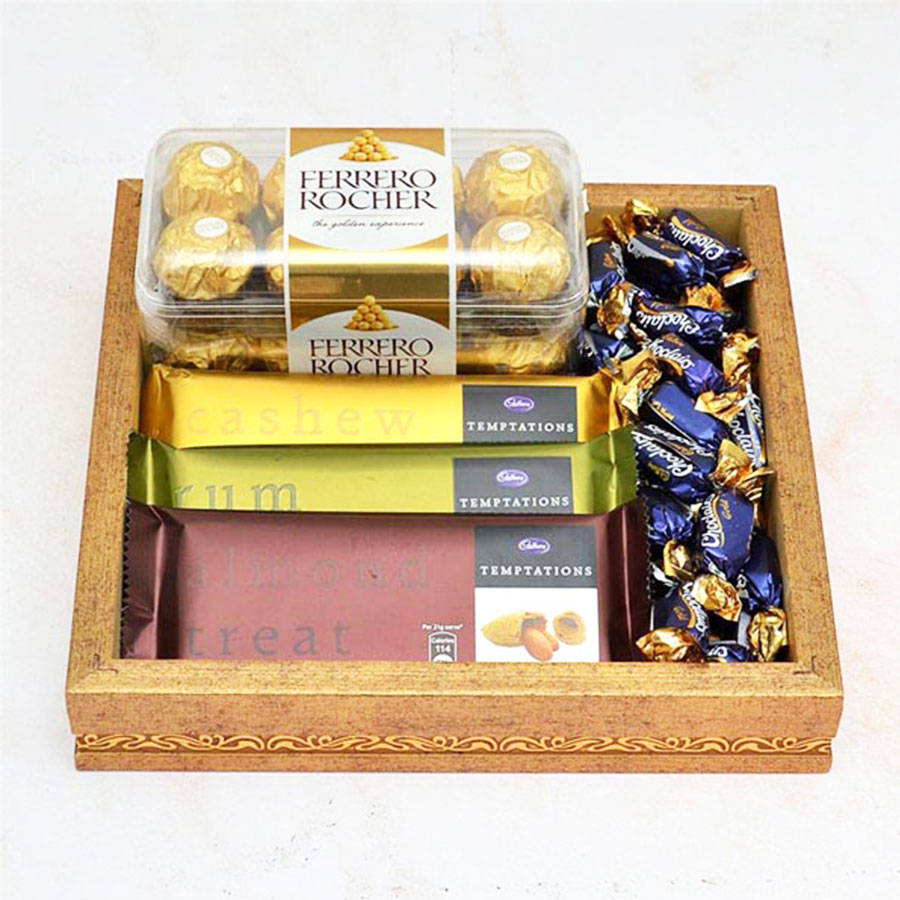 Chocolate Tray- 3 pcs Temptation and Ferrero Rocher with melting Chocolairs 50pcs