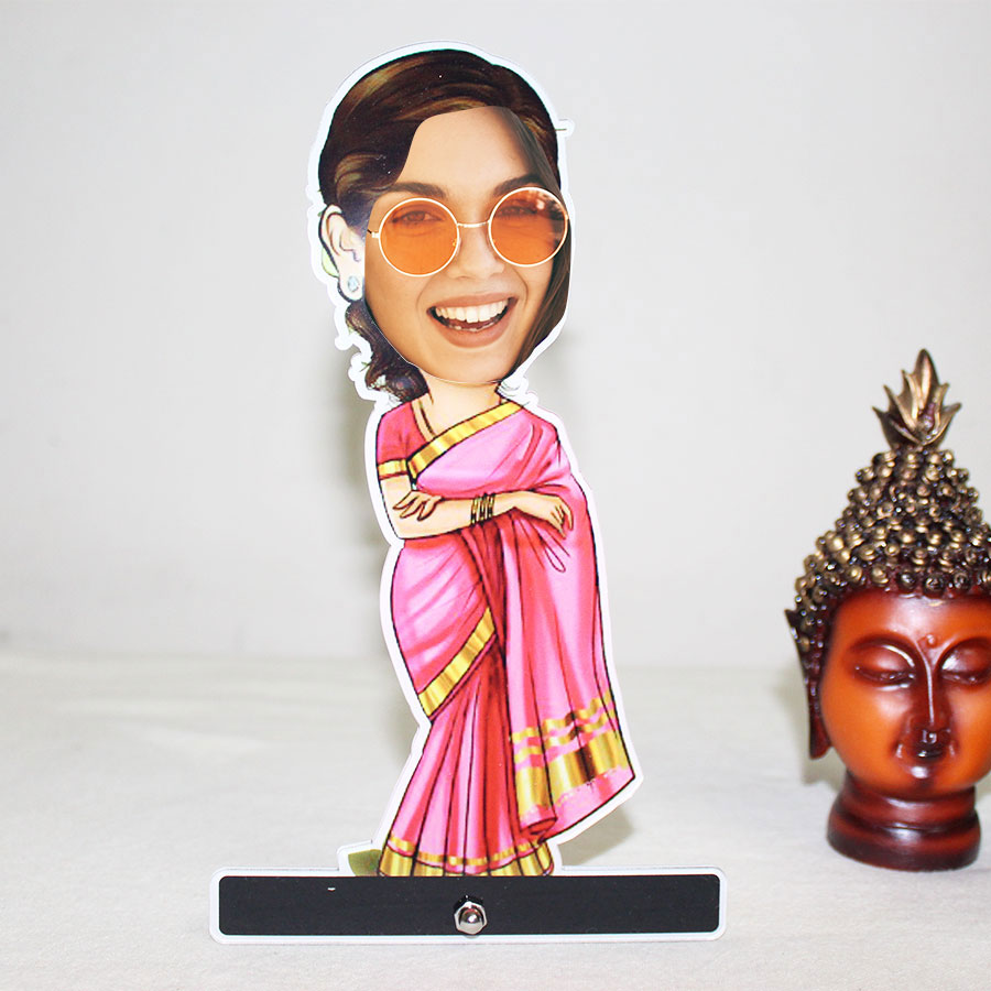 Beautiful  Lady in Saree Caricature Photo Stand